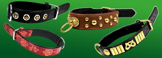 Hundhalsband av läder - även design