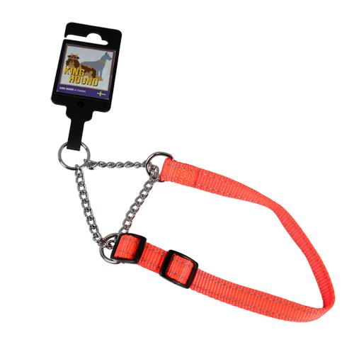 Justerbart halvstryphalsband av nylon orange reflex 15mm x 30-45cm