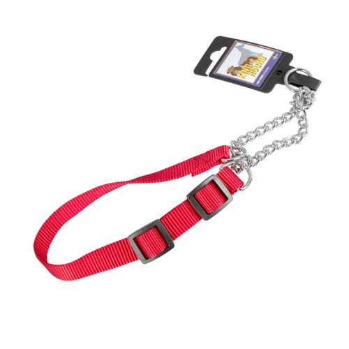 Justerbart halvstryphalsband av nylon rött 20mm x 35-55cm