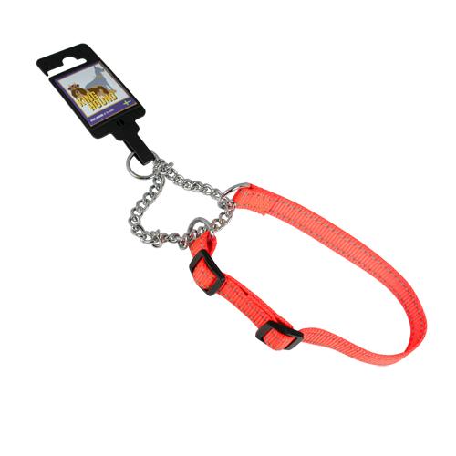 Justerbart halvstryphalsband av nylon orange reflex 20mm x 35-55cm