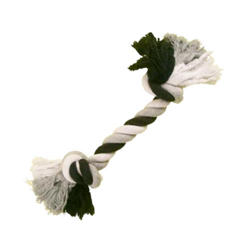 Tuggknut av bomull 2 knutar svart/vit/grå 180 gram ca 20 cm