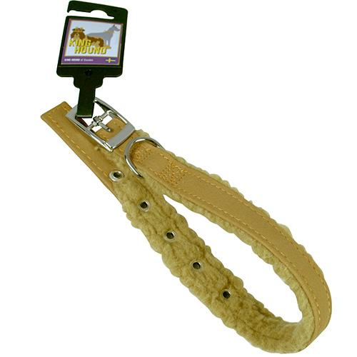 Halsband pälsfodrade brun/beige 20mm x 45cm