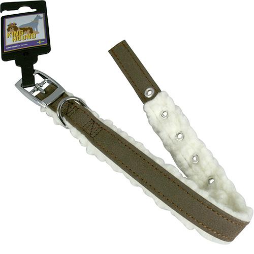 Halsband pälsfodrade mörkbrun/vit 20mm x 45cm