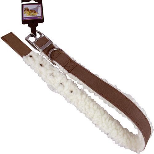 Halsband pälsfodrade mörkbrun/vit 25mm x 65cm