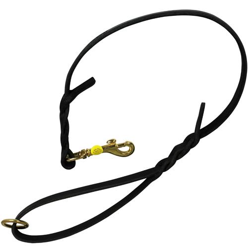 DS Hundkoppel av läder 70cm x 12mm svart
