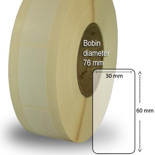 Etiketter på rulle plast högblanka för bläck 50 mm bärbana 30 x 60mm 2000 st