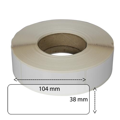 Etiketter på rulle självhäftande högblanka för bläck  38-104mm på 40 mm bärbana 1000 st