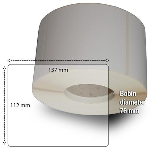 Etiketter på rulle självhäftande högblanka för bläck  112-137 mm 1000 st