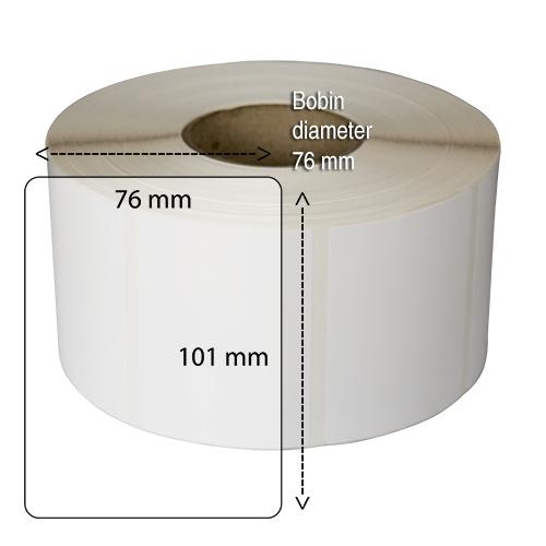 Etiketter på rulle självhäftande högblanka för bläck  101-76 mm 1000 st