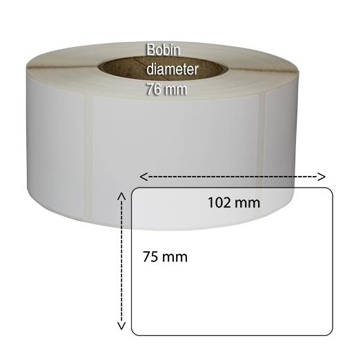 Etiketter på rulle självhäftande högblanka för bläck  75-102 mm 1000 st