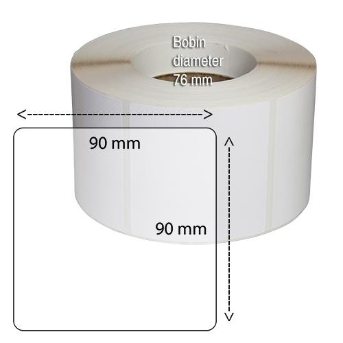 Etiketter på rulle självhäftande högblanka för bläck  90-90 mm 1000 st
