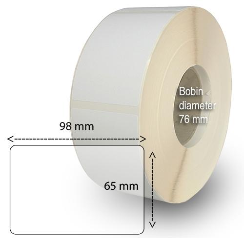 Etiketter på rulle självhäftande högblanka för bläck 65-98 mm 1500 per rulle