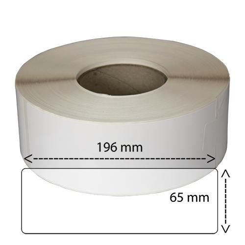 Etiketter på rulle självhäftande högblanka för bläck 65-196 mm 750 per rulle