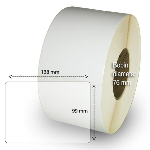 Etiketter på rulle självhäftande högblanka 98-135 mm 1000 per rulle