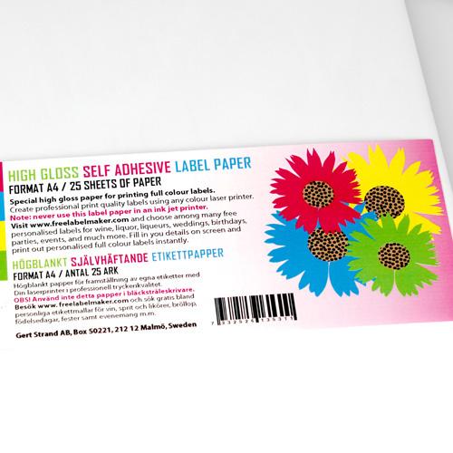 Självhäftande högblankt A4 etikettpapper 25 ark