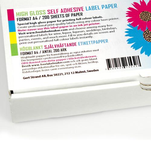 Självhäftande högblankt A4 etikettpapper 200 ark