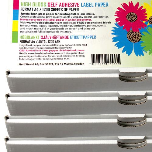 Självhäftande högblankt A4 etikettpapper 1200 ark