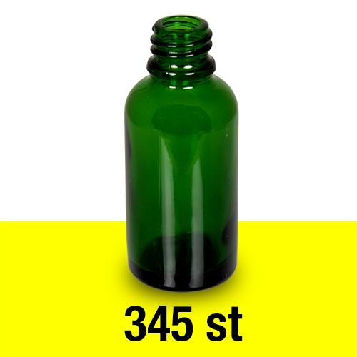 Glasflaska 30 ml grön Stor låda 345 st med 18 mm gänga 31-42 h-26 cm 16 9 kg