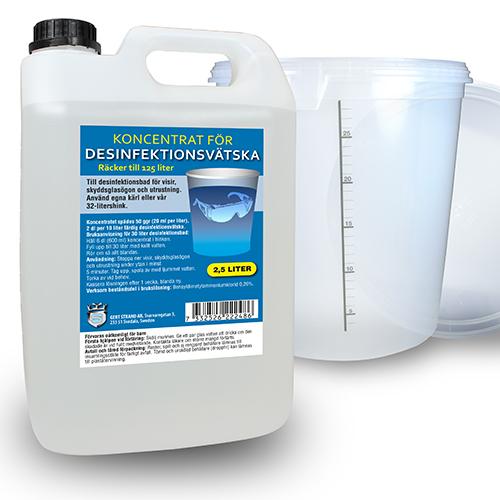 Koncentrat 2 5L för desinfektionsbad + 32L desinfektionshink
