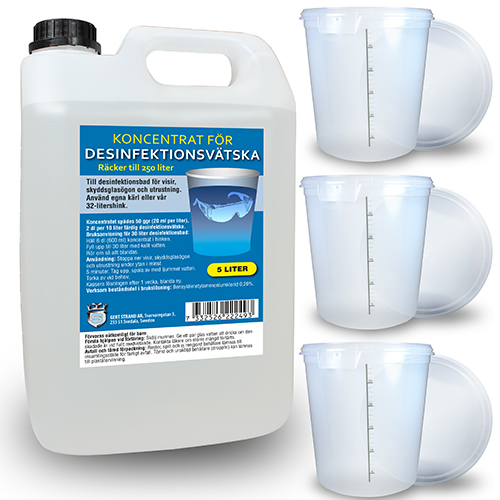 Koncentrat 5L för desinfektionsbad + 3 st 32L desinfektionskärl